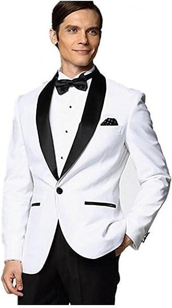 Men S Black Shawl Lapel White Jacket Wedding Suits For Men Groom Tuxedos Men Business Suits At Amazon Men S Clothing Store