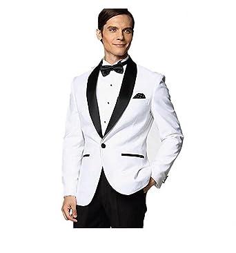 Botong Black Shawl White Jacket Wedding Suits for Men Groom Tuxedos ...