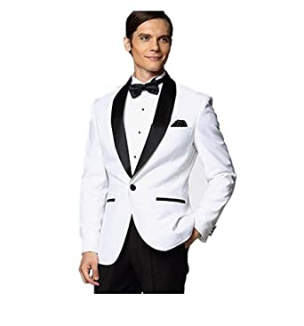30f00690ca13 Botong Black Shawl White Jacket Wedding Suits for Men Groom Tuxedos Men  Suits White 34 Chest