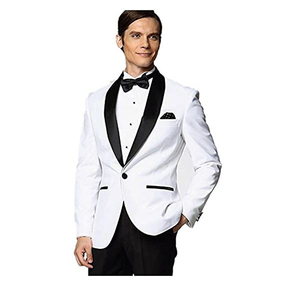 Mne S Black Shawl Lapel White Jacket Wedding Suits For Men