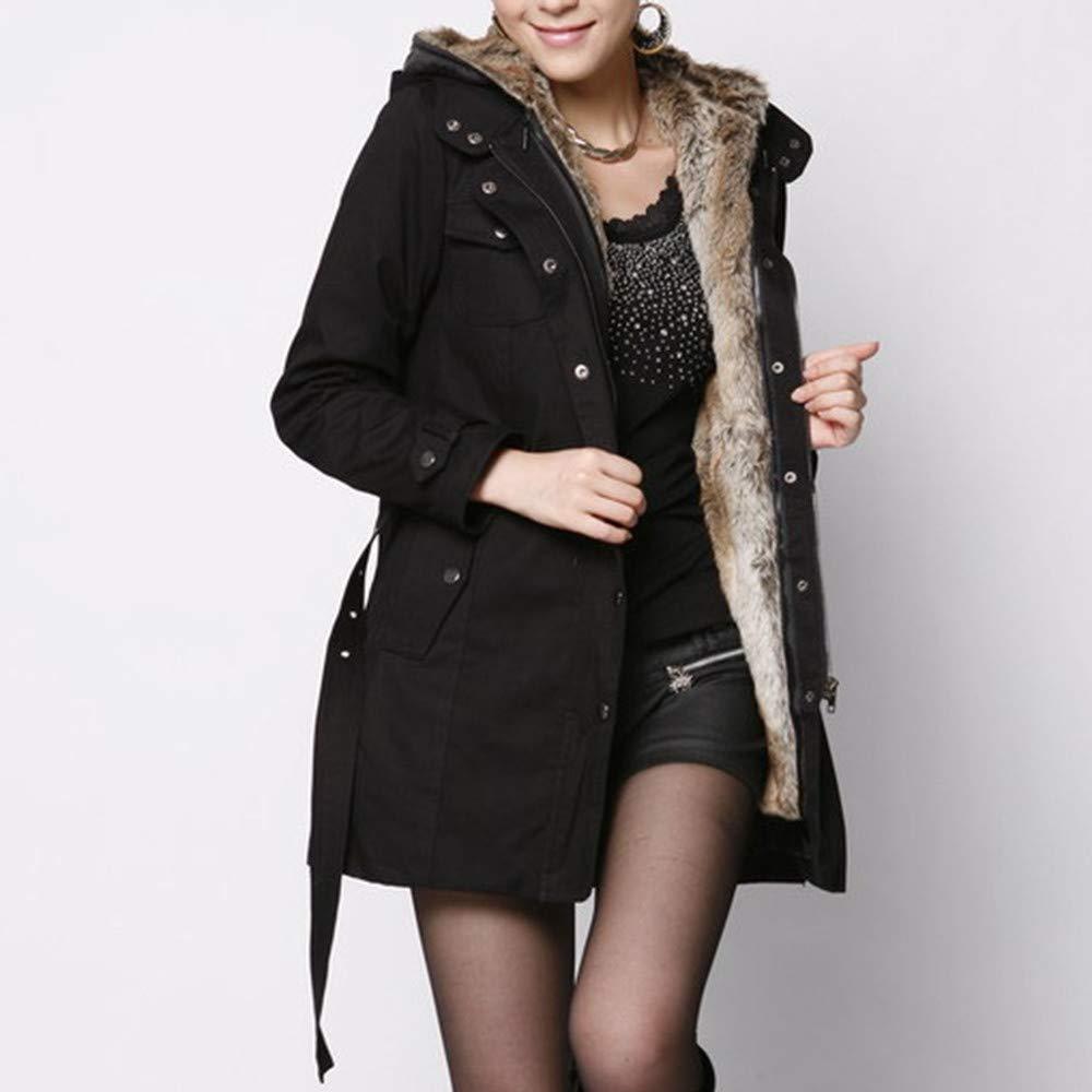 Sunyastor Womens Thick Long Jacket Outdoor Warm Overcoat Hoodied Coat Parka Ladies Faux Fur Fleece Lined Coat