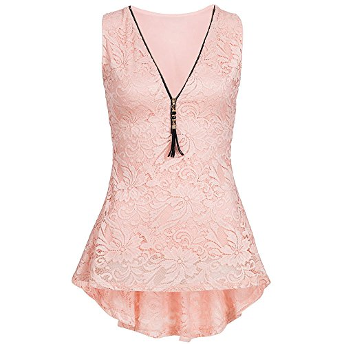 HGWXX7 Women's Solid V-Neck Lace Sleeveless Irregular Hem Zip Up Vest Tank Tops (S, Hot Pink)]()