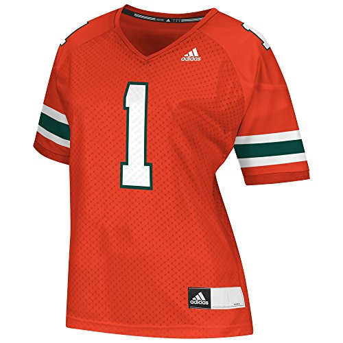 adidas NCAA Miami Hurricanes Women's Replica Football Jersey, Orange, XX-Large