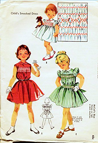 (McCall's 2011 Vintage Sewing Pattern, Child's Smocked Dress with Peter Pan Collar and Transfer, Check offers for Size)