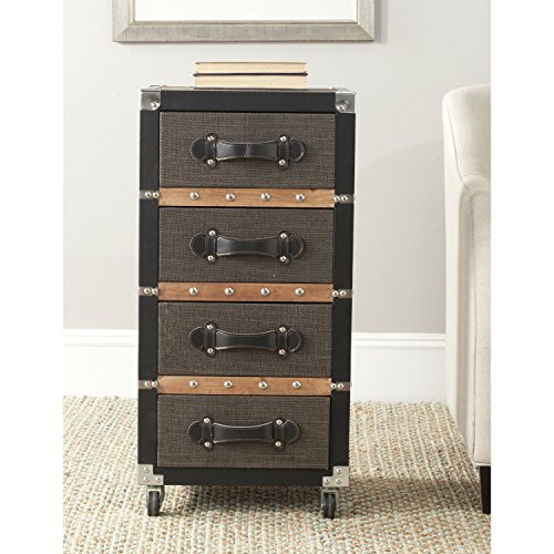 Safavieh Home Collection Brent Black, Brown & Silver 4 Drawer Rolling - Bombe Trunk Table