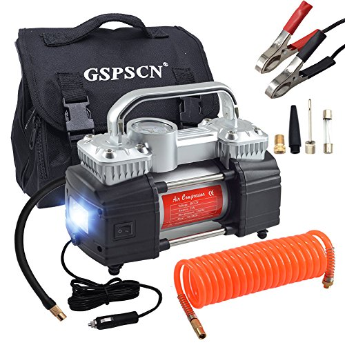 GSPSCN Dual Cylinder Air Compressor Pump,Heavy Duty Portable Tire Inflator 12V 150PSI for Fast Pumping with LED Work Lights For Sale