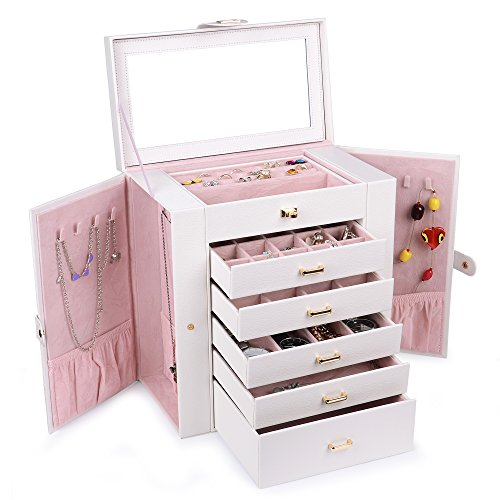 (Kendal Huge Leather Jewelry Box/Case / Storage LJC-SHD5CM (White))