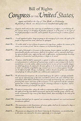 Bill of Rights of The United States America Historical Docum