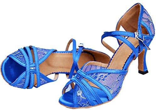 Abby 004 Kvinner Kroppen Strap Latin Peep-toe Blonder Profesjonelle Danse- sko Blå ...