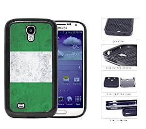 Nigerian Flag Grunge Surface 2-Piece Dual Layer High Impact Rubber Silicone Cell Phone Case Samsung Galaxy S4 SIV I9500