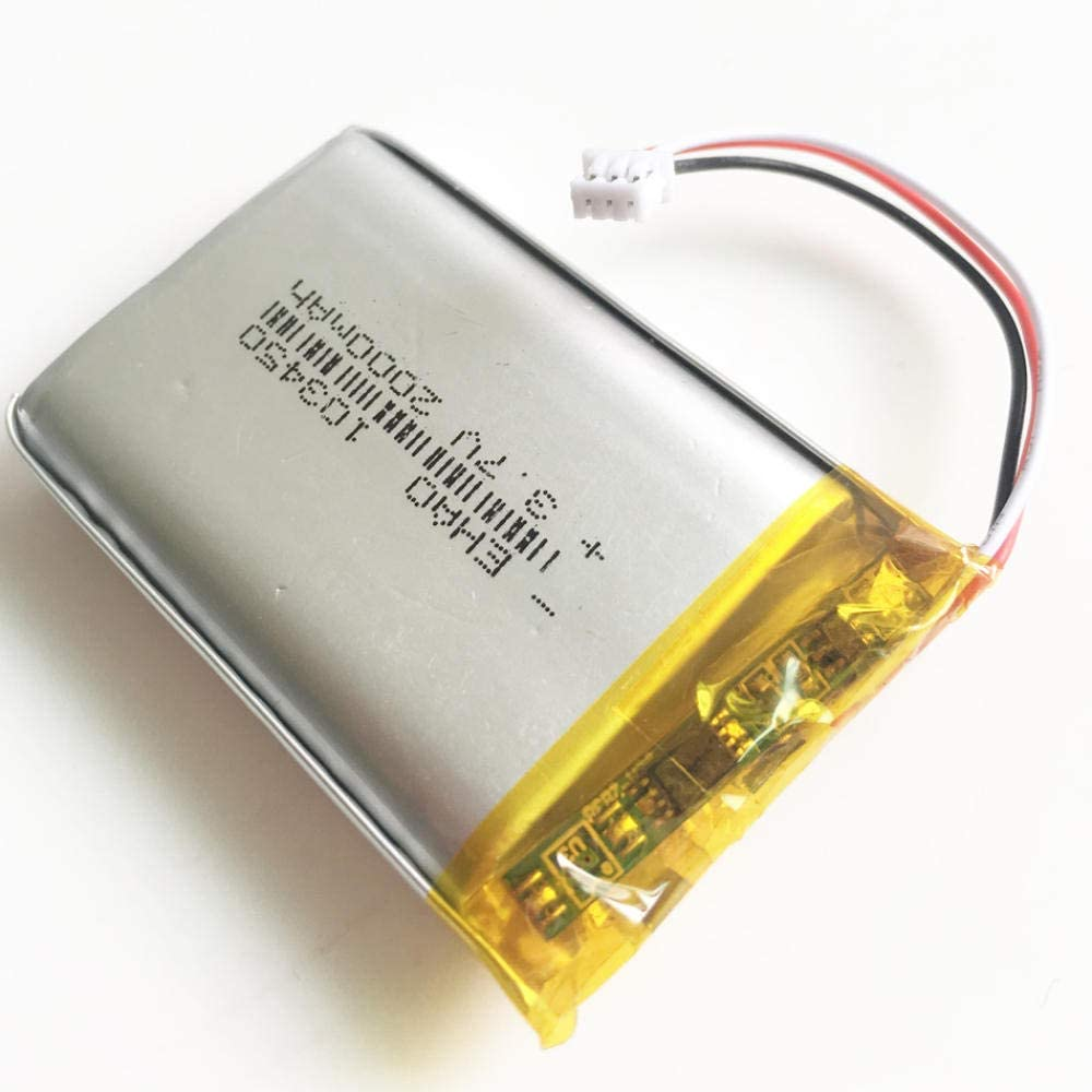 mrwellog 3,7 V 2000 mAh JST 1,25 3-poliger Stecker Lithium-Polymer-LiPo-Akku Zellen 103450 F/ür DVD-PAD-Kamera GPS-Lautsprecher Laptop-1 St/ück