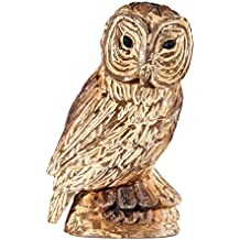 Hand Carved Wooden Owl Figurine, 10 Inch