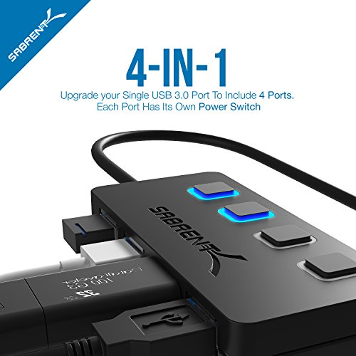 Sabrent 4-Port USB 3.0 Hub with Individual LED Lit Power Switches, Included 5V/2.5A power adapter (HB-UMP3) by Sabrent (Image #2)