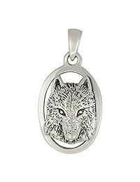 Moonlight Mysteries Sterling Silver Wolf Head Totem Pendant