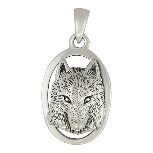 (Moonlight Mysteries Sterling Silver Wolf Head Totem Pendant)