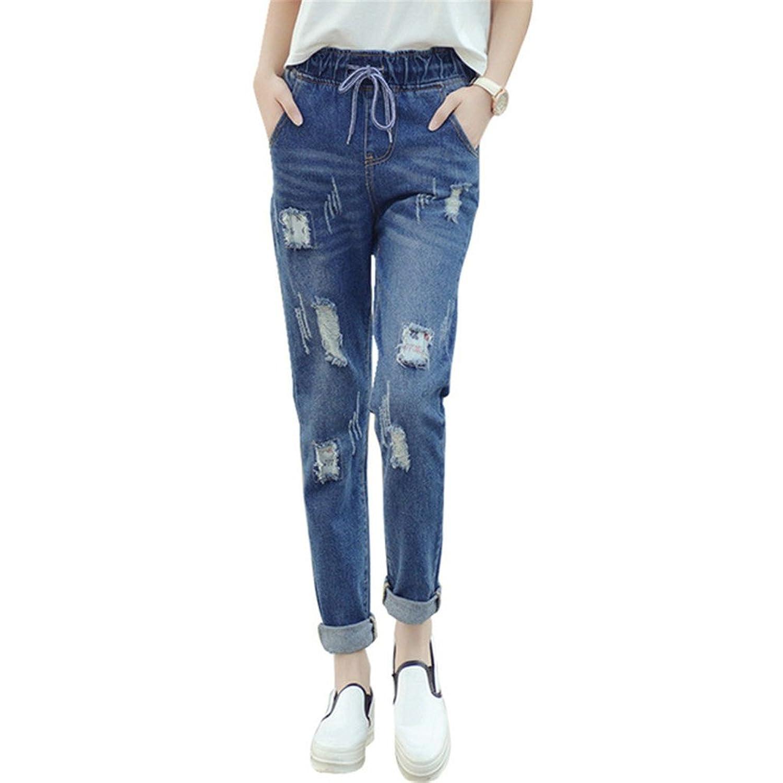 Women Jeans Elastic Waist Boyfriend Style Hole Loose Pockets Denim Pant Trousers