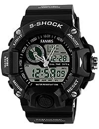 Mens Analog Display LED Watches Military Multifunctional Waterproof Quartz Black Sport Wrist Watch