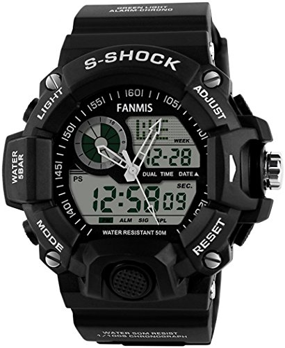 Mens Analog Digital Dual Display Sports Watches Military Multifunctional 50M Waterproof LED Watch with Alarm Stopwatch Backlight 12H/24H Outdoor Running Swimming (Black) (Proof Men Watches For Shock)