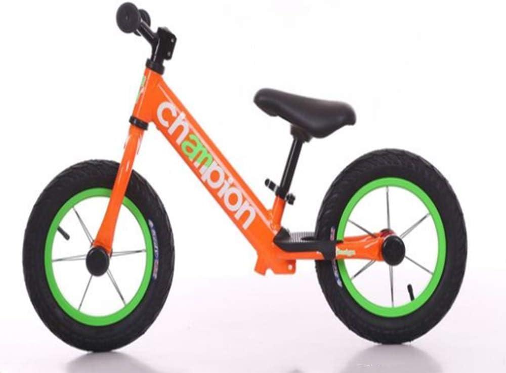 ZLXLX Bicicleta de equilibrio Aleación de aluminio sin pedal Bicicleta para caminar 2-5-8 años Niños, Naranja, 12 pulgadas,naranja,12 pulgadas
