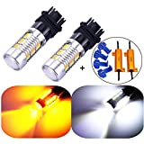 3157 3057 3357 4157 Canbus Turn Signal White/Yellow Switchback LED Light Bulbs 22 SMD with Projector, for Standard Socket, Not CK- Pair of 2 with load resistors