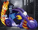 GOOSH Outdoor Halloween Decorations Blow up Yard Outdoor Decorations Grim Reaper on Motorcycle 6ft Long Halloween Inflatables