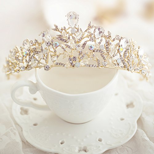 Yean Gold Wedding Crown Bridal Tiaras with Earrings Pink Purple Headband for Women and Girls (Gold)