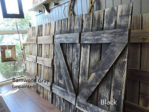ABW Decor Barnwood Rustic Interior Window Shutters Set of 2. 14Inches Wide X 36 Inches Tall. Decorative Farmhouse Reclaimed Vintage Style Wood Wall Decor.