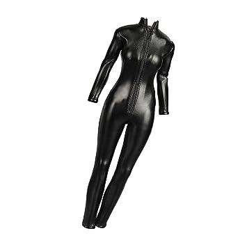 Amazon.com: SM SunniMix 1:6 Scale PU Leather Jumpsuit Women ...