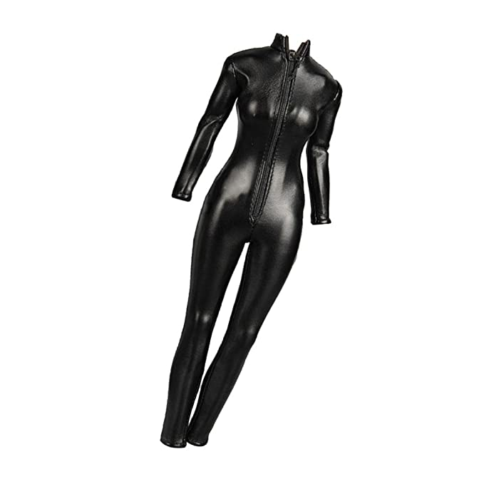 1bf59b4db36d2 MagiDeal 1/6 Scale Female Clothes Black Faux Leather Jumpsuit