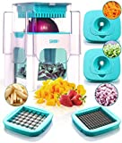 4-in-1 Vegetable Chopper for Onion, Potato, Veggie, Fruit – French Fry Cutter, Dicer, Spiralizer (Turquoise)