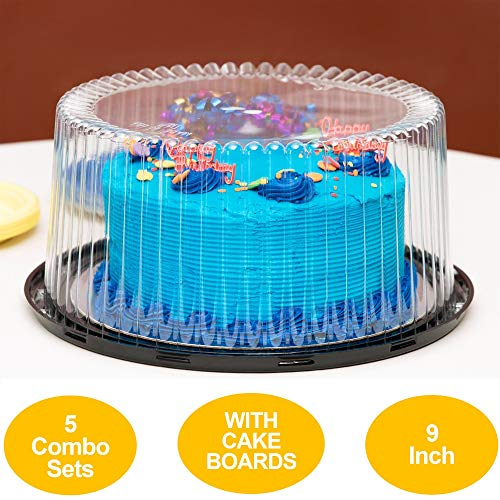 9' Plastic Disposable Cake Containers Carriers with Dome Lids and Cake Boards | 5 Round Cake Carriers for Transport | Clear Bundt Cake Boxes/Cover | 2-3 Layer Cake Holder Display Containers