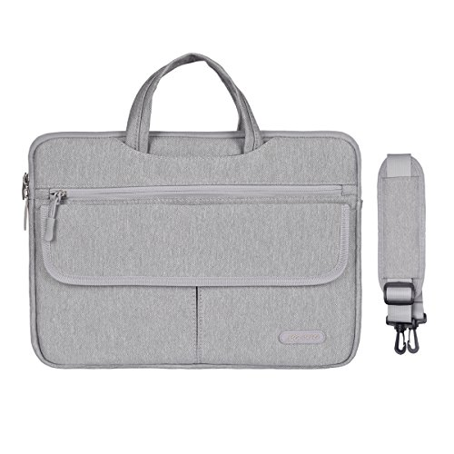Mosiso Polyester Flapover Compartment Style Laptop Shoulder Briefcase Messenger Bag Case for 13-13.3 Inch MacBook Pro, MacBook Air, Notebook, Gray