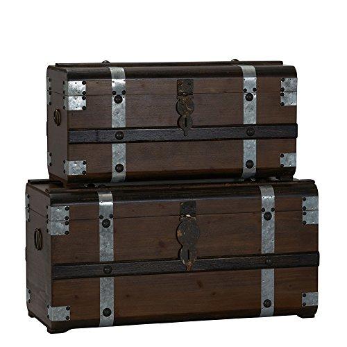 Household Essentials Steel Band Wood Trunks (2 Piece) Storage Chest, Set, Steamer