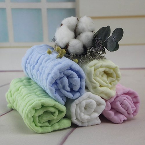 Baby Square Towel 6 Layers Baby Cotton Towel Newborn wash Towel Stretching 5 Packs - Wash Square