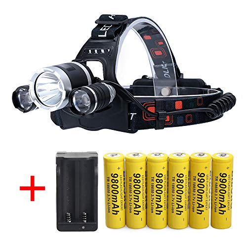 LED Rechargeable 7000 Lumens Headlamp Flashlight,Kit with 6PCS 3.7V 9800mAh Rechargeable Battery + Batteries Charger For Camping,Hiking, Outdoors (The Best 18650 Rechargeable Battery)