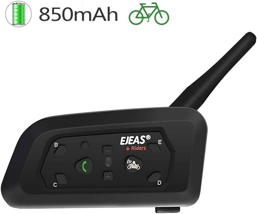 TOPRUI V6 Motocicleta Auriculares Intercomunicador Bluetooth, Handsfree Bluetooth Intercom Sports Helmet Headset 1200MIntercomunicacion Entre 6 Motociclistas(1 Paquete)