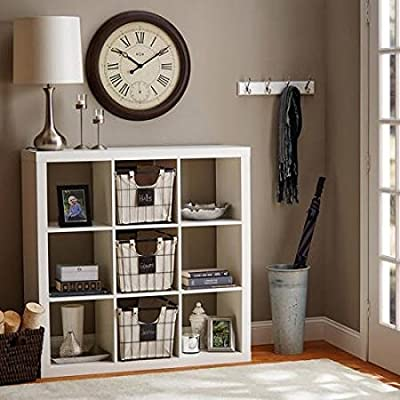 """Better Homes and Gardens 9-Cube Organizer Storage Bookcase Bookshelf (White) - Versatile: create multiple storage solutions Easy to assemble hardware included Dimensions: 44.65""""L x 15.35""""W x 44.57""""H (113.41 cm x 38.99 cm x 113.21 cm) - living-room-furniture, living-room, bookcases-bookshelves - 51SUypUomWL. SS400  -"""