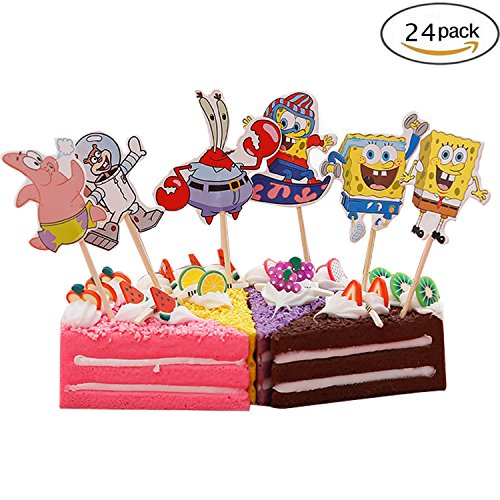 Cupcake Toppers Birthday Party Supplies,Cake Decoration Baby Showerfor for Kids Birthday Party-SpongeBob SquarePants Set of -