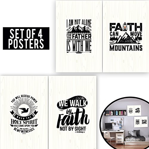 Limited Edition: FAITH Set Of Four 11X17 - Spiritual Wall Decor With Quotes About of Bible! Wooden FAITH Poster Arts for Christians, Office Decor For Minister & Pastor Gifts! 1MM Thick Cardboard! (Baptism Centerpiece Table Ideas)