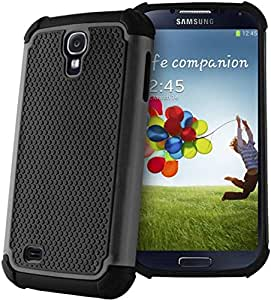 Black Shockproof Dual Silicone Hard Soft Case Cover For Samsung Galaxy S4 i9500 i9505