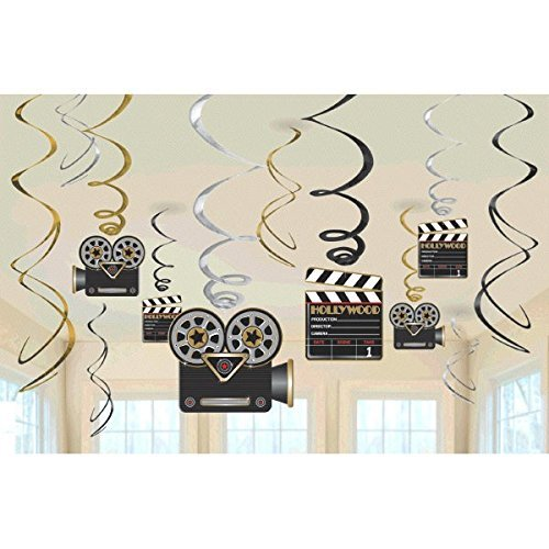 Lights! Camera! Action! Value Pack Party Foil Swirl Hanging Decorating -
