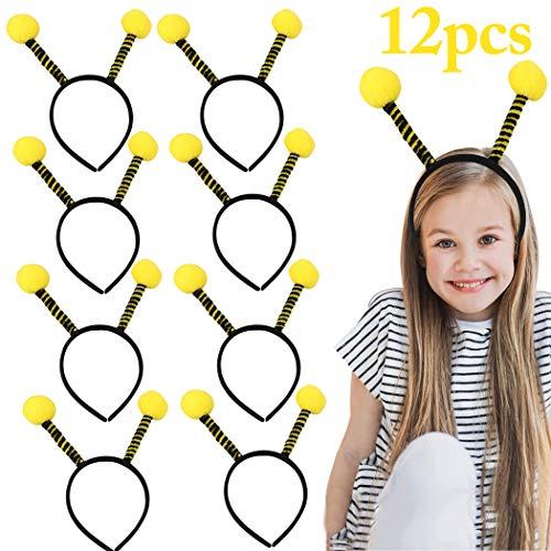 Party Headband,FunPa 12PCS Bee Headbands Bulk Cute Cartoon Bee Hair Hoop Tentacle Hair Band Costume Headband for Kids Women Girls Halloween Thanksgiving Birthday Bee Party Supplies]()