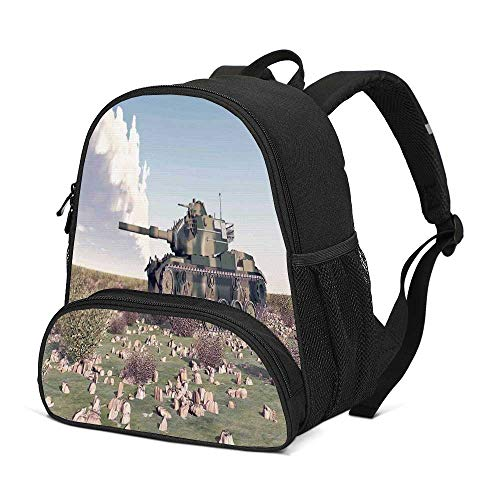 War Home Decor Durable Kids Backpack,American Camouflage Tank of the Cold War Historical Facts Battle Art Picture for School Travel,10
