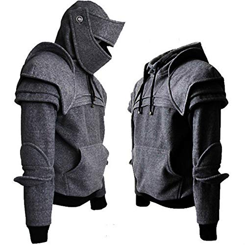 Men S4 Combat Mask Sweatshirt Long Sleeve Iron Riding Helmet Army Hooded Tops Winter Tactical Blouse (XXL, Gray)