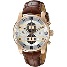 Lucien Piccard Men's 'Bosphorus' Quartz Stainless Steel and Leather Casual Watch, Color:Brown (Model: LP-40045-RG-02S-BRW)