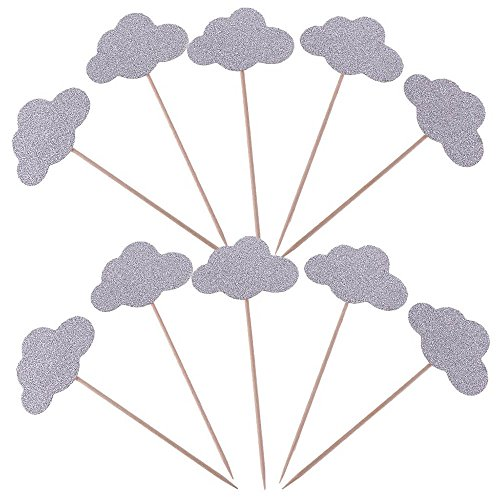 AimtoHome Glitter Cupcake Toppers for Girls Birthday Party Table Decoration, Pack of 50 (Cloud-Silver)
