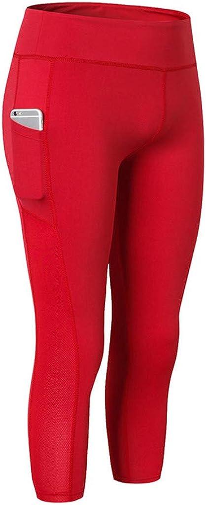 kemilove Mesh Panel Capri Leggings for Women Workout Yoga Pants with Pockets Running Tights Gym Seven-Point Yoga Pants