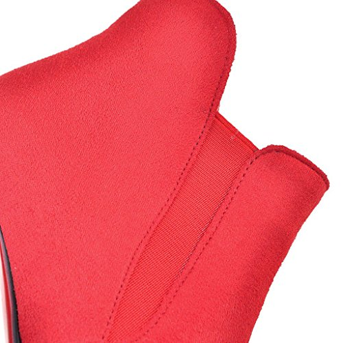 Kaloosh Women's Nubuck Leather Pointed Toe and Thin Heel Boots Red g5srTST