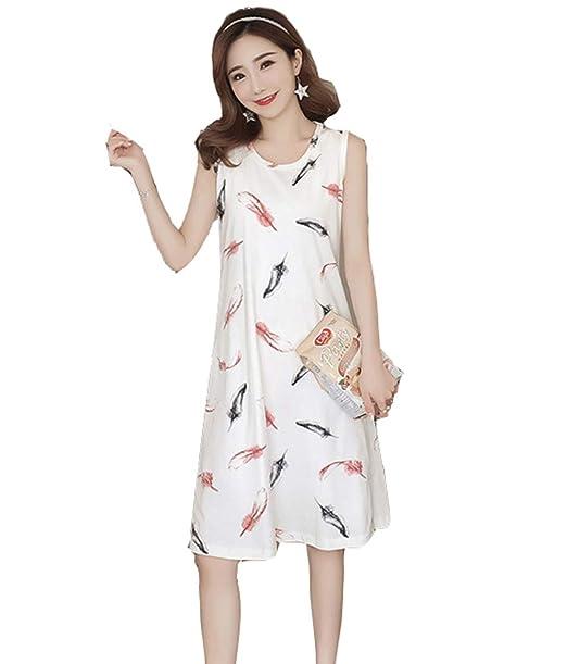Pijama Mujer Verano Algodon Sin Mangas Vestido De Dormir Talla Grande Pijamas(M-XXL