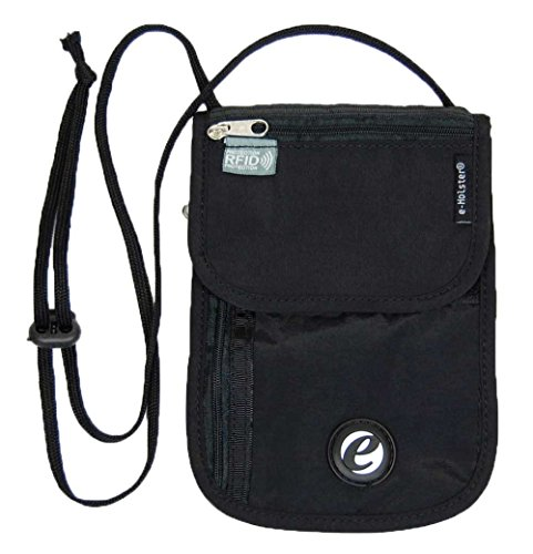 Price comparison product image e-Holster Travel Neck Wallet RFID Blocking Hidden Passport Holder Tri-Fold Design
